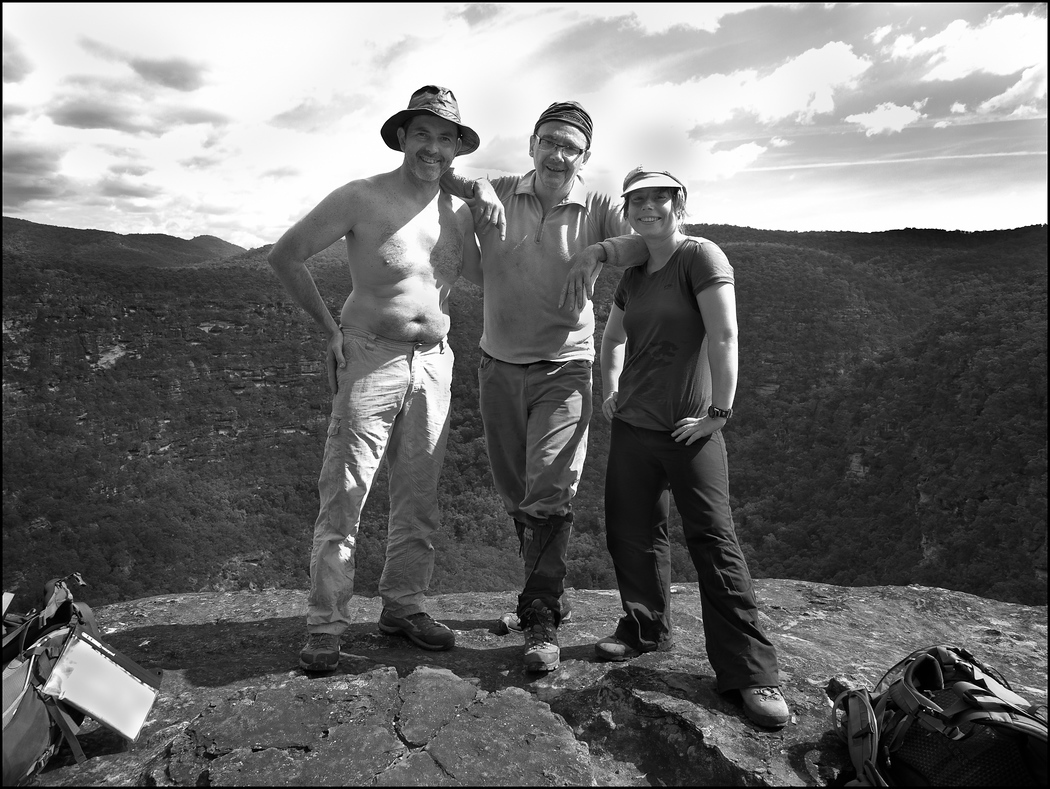 Paul, David and Lise Triumphant at the Lookout Rock