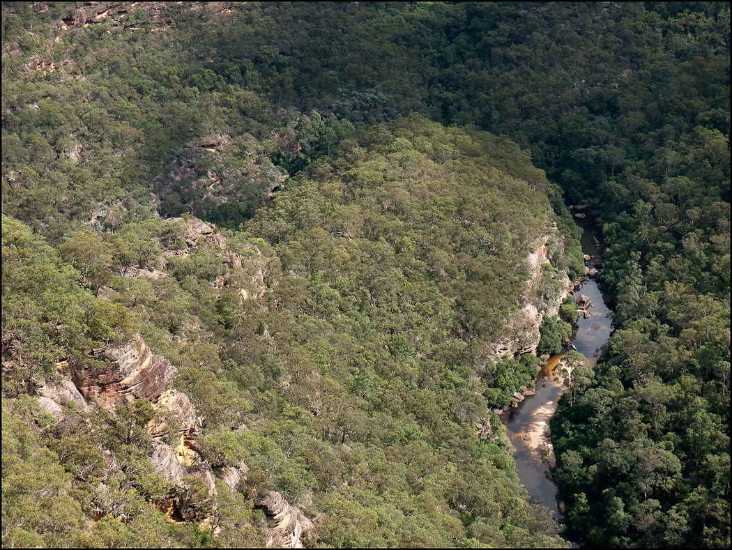 Looking down over the curve in the Wollemi Creek (campsite and saddle)
